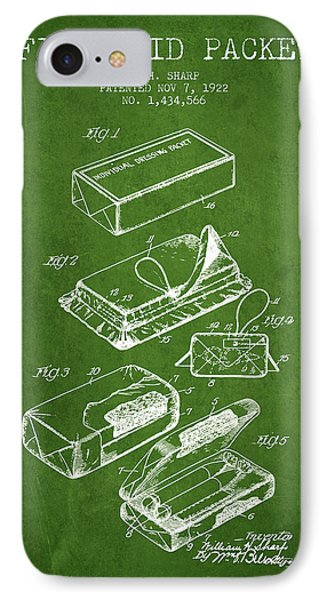 First Aid Packet Patent From 1922 - Green IPhone Case by Aged Pixel