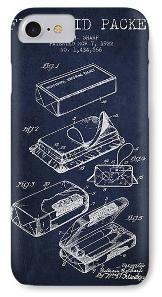 First Aid Packet Patent From 1922 - Navy Blue IPhone Case by Aged Pixel
