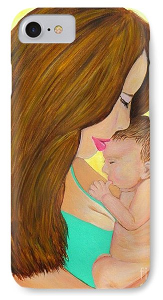 IPhone Case featuring the painting First Kiss- Mother And Newborn Baby by Shelia Kempf