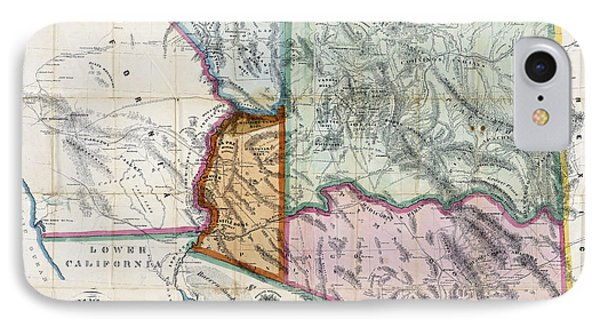 First Map Of Arizona Territory  1865 Phone Case by Daniel Hagerman