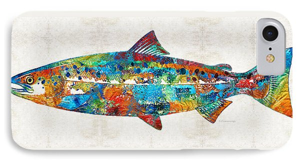 Fish Art Print - Colorful Salmon - By Sharon Cummings IPhone 7 Case by Sharon Cummings