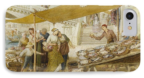 Fish Market On The Steps Of The Rialto IPhone Case by Myles Birket Foster