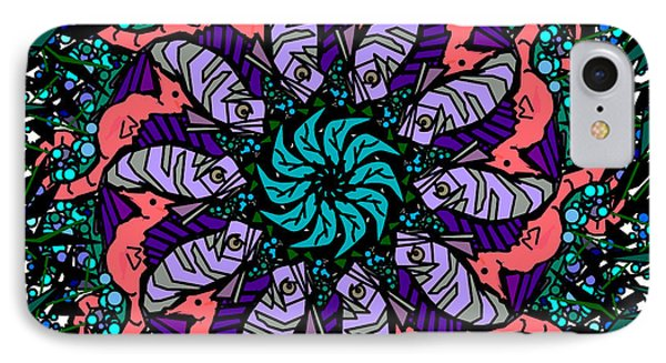 IPhone Case featuring the digital art Fish / Seahorse #2 by Elizabeth McTaggart
