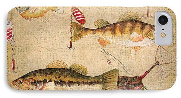 Fish Trio-a-basket Weave Border IPhone Case by Jean Plout