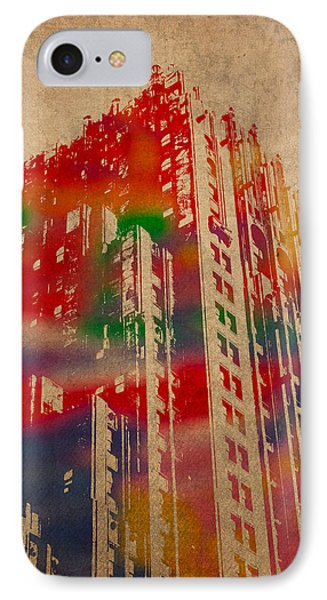 Fisher Building Iconic Buildings Of Detroit Watercolor On Worn Canvas Series Number 4 IPhone Case