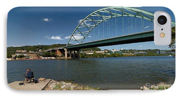 Fisherman At Birmingham Bridge Pittsburgh Pennsylvania Phone Case by Amy Cicconi