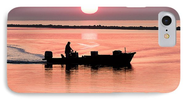 Fisherman At Sunrise Apalachicola Bay Florida  Phone Case by Bill Swindaman