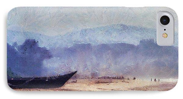 Fisherman Boat On The Goan Coast. India Phone Case by Jenny Rainbow