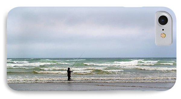 Fisherman Bracing The Weather Phone Case by Tikvah's Hope