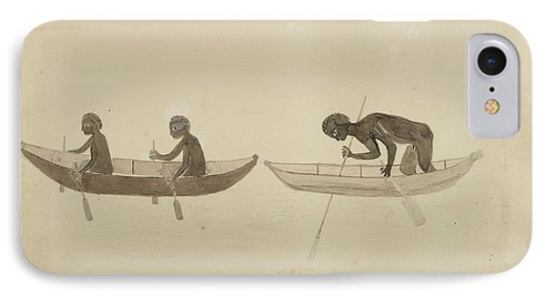 Fisherman In Small Wooden Canoes IPhone Case by British Library