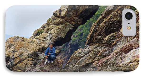 IPhone Case featuring the photograph Fisherman On Rocks  by Sarah Mullin