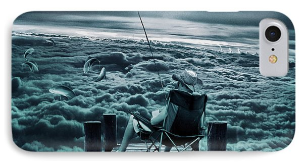 Fishing Above The Clouds IPhone Case by Marian Voicu