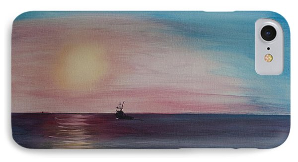 IPhone Case featuring the painting Fishing Alone At Night by Ian Donley