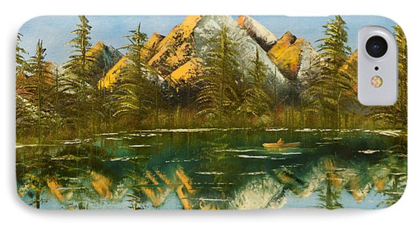 IPhone Case featuring the painting Fishing At Dusk by Chris Fraser