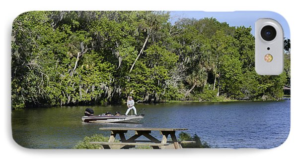 Fishing At Ponce De Leon Springs Fl Phone Case by Christine Till
