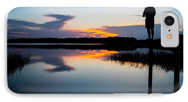 Fishing At Sunset IPhone Case by Parker Cunningham