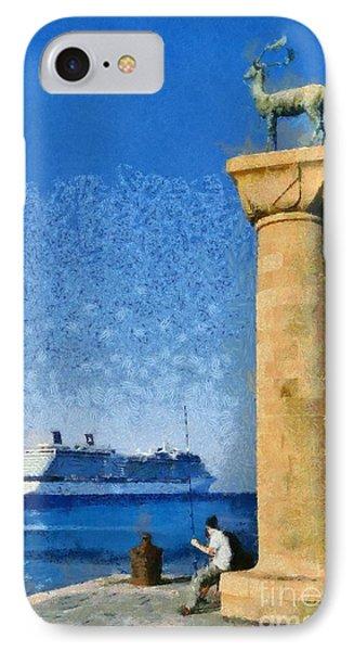 Fishing At The Entrance Of Mandraki Port IPhone Case by George Atsametakis