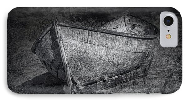 Fishing Boat On Shore In Black And White Phone Case by Randall Nyhof