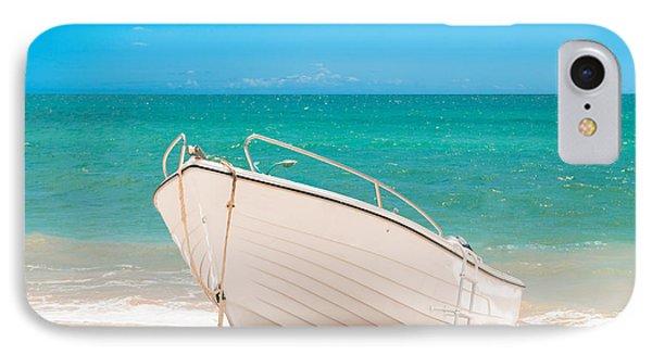 Fishing Boat On The Beach Algarve Portugal Phone Case by Amanda Elwell
