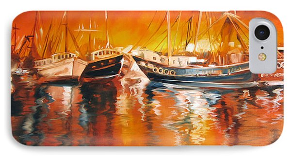 Fishing Boats At Dusk IPhone Case by Marcia Baldwin