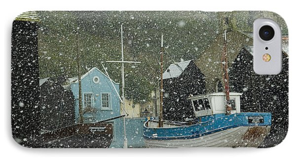 Fishing Boats Covered With Snow In Old Phone Case by Chris Parker