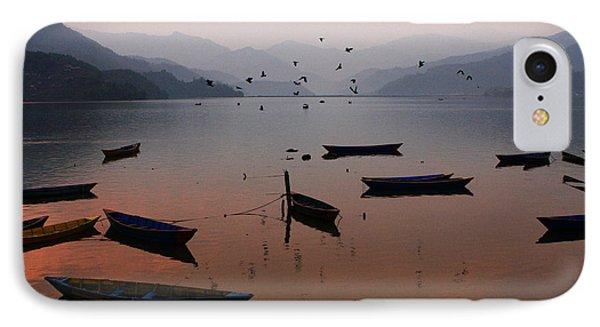 Fishing Boats - Phewa Lake - Nepal Phone Case by Aidan Moran