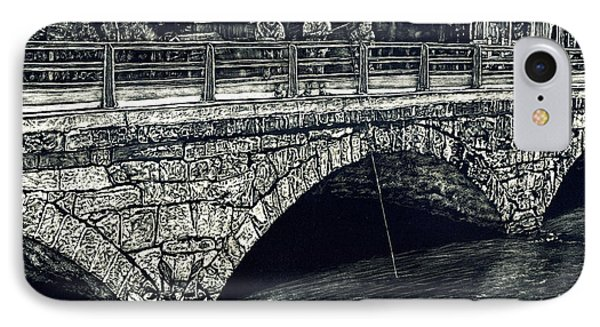 Fishing From The Stone Arched Bridge Phone Case by Robert Goudreau