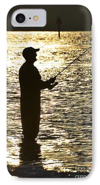 Fishing In Golden Time IPhone Case by Joan McArthur