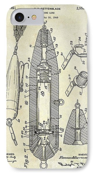 Fishing Lure Patent  IPhone Case by Jon Neidert