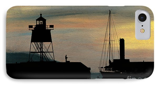 Fishing Off The Breakwater IPhone Case by R Kyllo