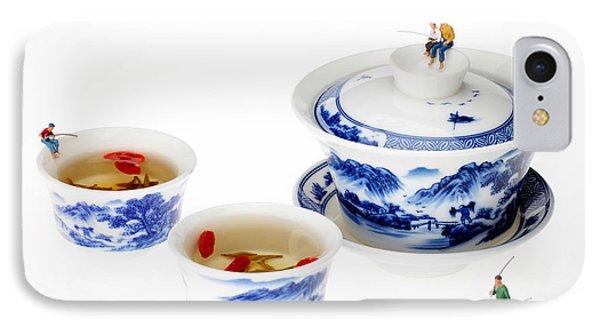 Fishing On Tea Cups Little People On Food Series Phone Case by Paul Ge