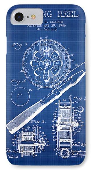 Fishing Reel Patent From 1906 - Blueprint IPhone Case by Aged Pixel