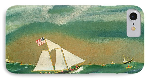 Fishing Schooner Josephine On The Grand Banks IPhone Case by John OJ Frost