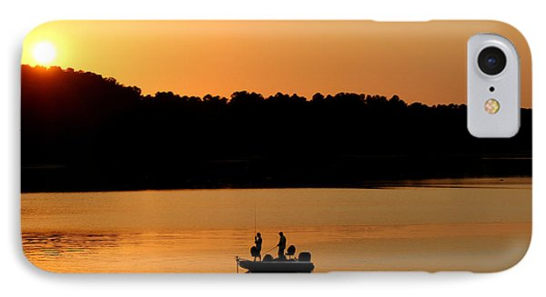 IPhone Case featuring the photograph Fishing Silhouette  by Kathy  White