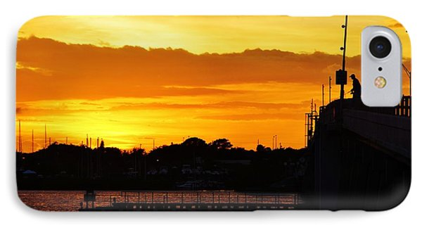 Fishing The Bridge At Sunset IPhone Case