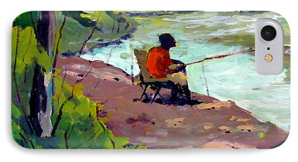 Fishing The Spillway IPhone Case by Charlie Spear