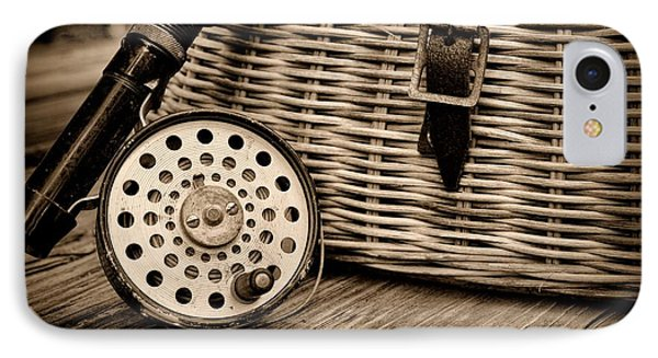Fishing - Vintage Fly Fishing - Black And White Phone Case by Paul Ward