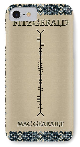 Fitzgerald Written In Ogham IPhone Case by Ireland Calling