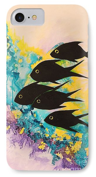 IPhone Case featuring the painting Five Black Fish by Lyn Olsen