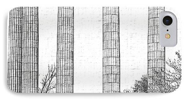 Five Columns Sketchy Phone Case by Debbie Portwood