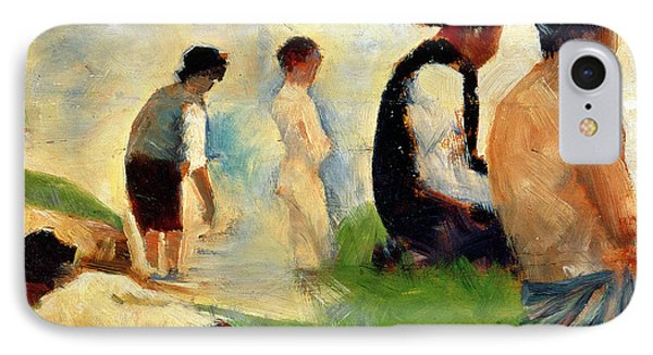 Five Male Figures Possible Preparatory Sketch For The ''bathers At Asnieres.'' Phone Case by Georges Pierre Seurat