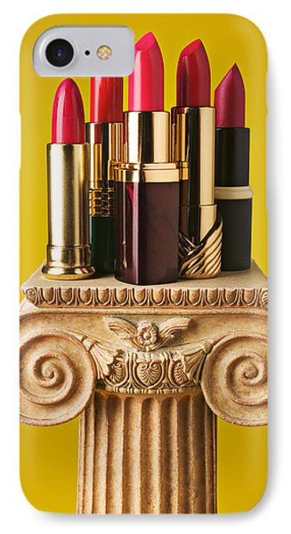 Five Red Lipstick Tubes On Pedestal Phone Case by Garry Gay