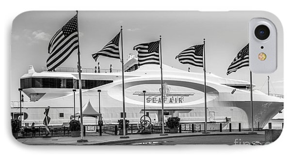 Five Us Flags Flying Proudly In Front Of The Megayacht Seafair - Miami - Florida - Black And White IPhone Case