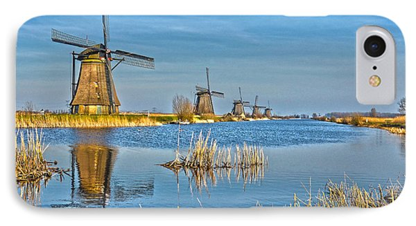 IPhone Case featuring the photograph Five Windmills At Kinderdijk by Frans Blok