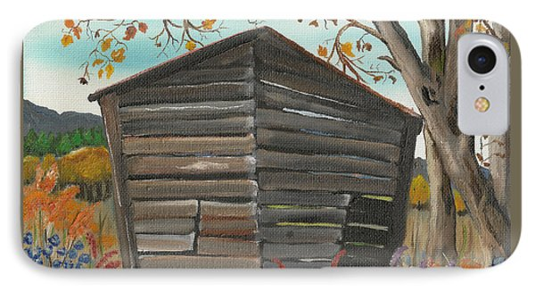 IPhone Case featuring the painting Autumn - Shack - Woodshed by Jan Dappen