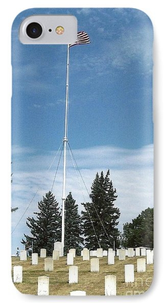 Flag At Custer National Cemetery Phone Case by Charles Robinson