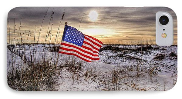 Flag On The Beach Phone Case by Michael Thomas