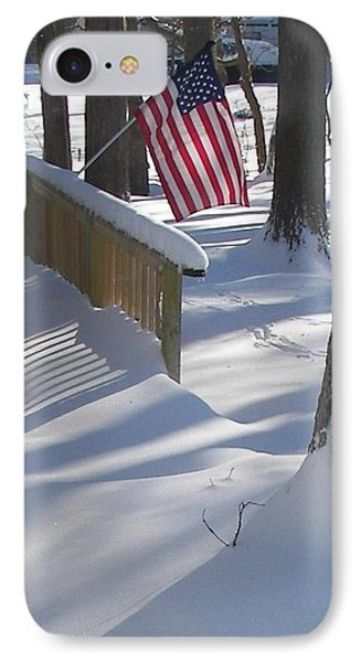Flag Over Morning Snow IPhone Case