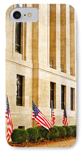 Flags At The Courthouse IPhone Case by Linda Segerson