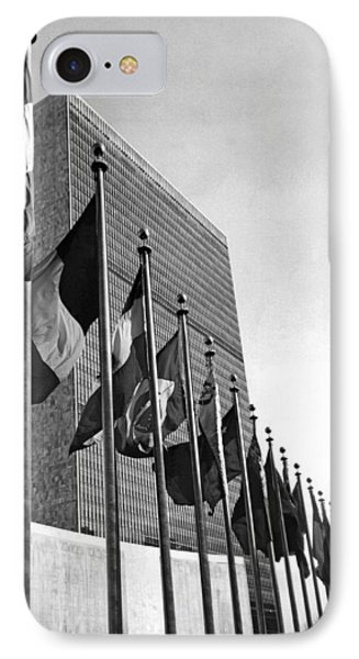 Flags Flying At United Nations IPhone Case by Underwood Archives